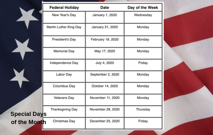"""2020 U.S. Federal Holiday Schedule"""