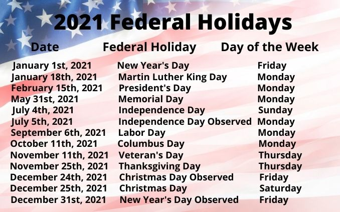2021 Federal Holiday Schedule