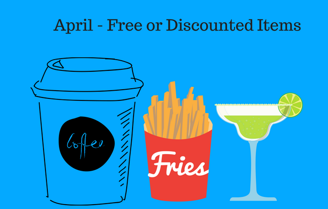 april 2018 free things discounted things