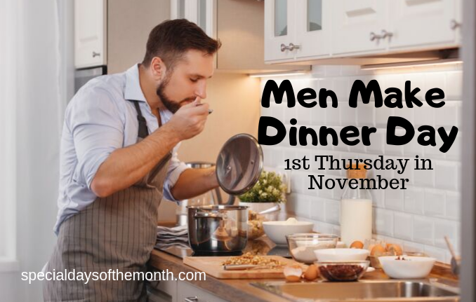 """men make dinner day"""